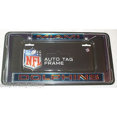 NFL Miami Dolphins Laser Cut Chrome License Plate Frame
