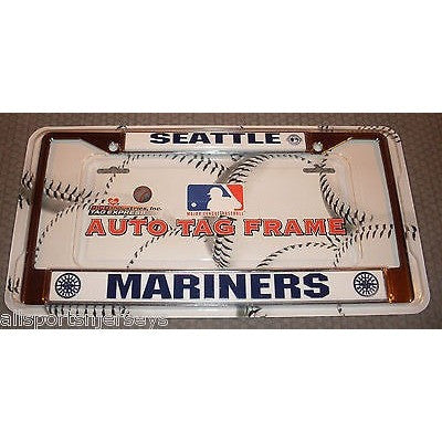 MLB Seattle Mariners Chrome License Plate Frame Thick Letters