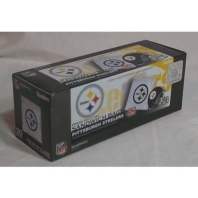 "NFL Pittsburgh Steelers 50 Pack Zipped Sandwich Bags 6 1/2"" By 5 7/8"""
