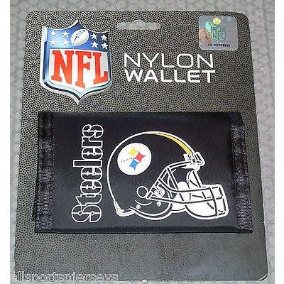 NFL Pittsburgh Steelers Tri-fold Nylon Wallet with Printed Helmet