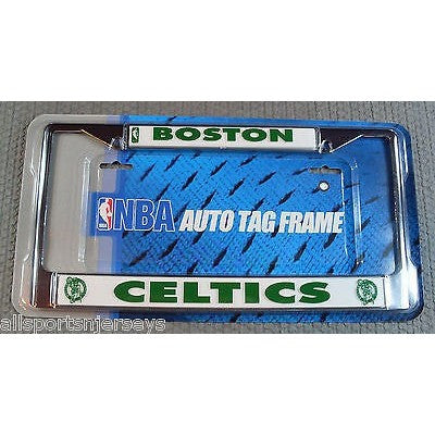 NBA Boston Celtics Chrome License Plate Frame Thick Letters