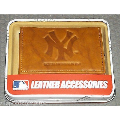 MLB New York Yankees Embossed TriFold Leather Wallet With Gift Box New