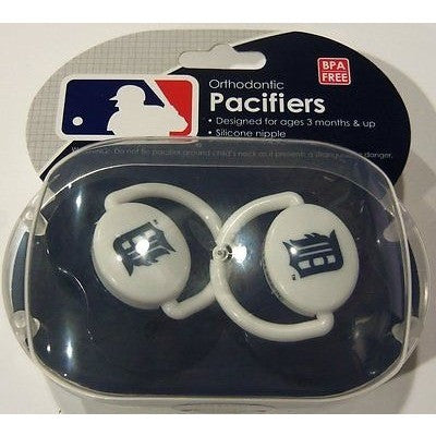 MLB Detroit Tigers Pacifiers Set of 2 w/ Solid Color Shield in Case
