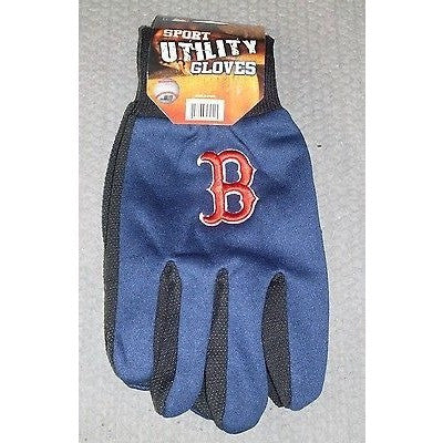 "MLB NWT NO SLIP UTILITY WORK GLOVES ""B"" LOGO - BOSTON RED SOX"