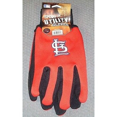MLB NWT 2-TONE NO SLIP UTILITY WORK GLOVES - ST. LOUIS CARDINALS
