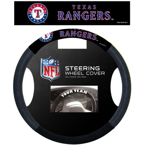 MLB POLY-SUEDE MESH STEERING WHEEL COVER TEXAS RANGERS