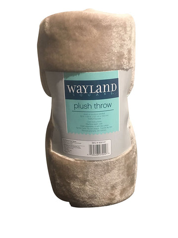"Wayland Square Plush Throw Blanket Tan 50"" X 60"""