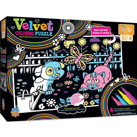 Masterpieces Velvet Coloring 60pc Puzzle Puppy & Kitty #11709
