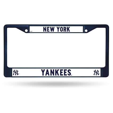 MLB Blue Chrome License Plate Frame New York Yankees Thin Raised Letters
