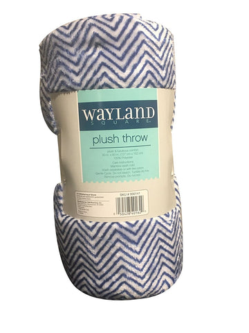 "Wayland Square Plush Throw Blanket Zig Zag Blue and White 50"" X 60"""