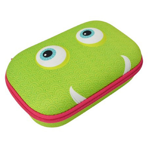 Zipit Beast Pencil / Storage Box Case Green Face Blue Eyes Pink Zipper