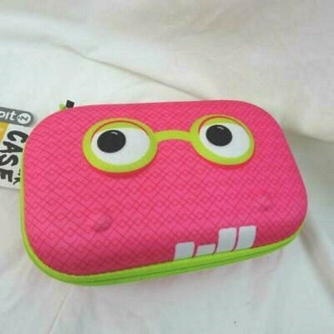 Zipit Beast Pencil /Storage Box Case Pink Face Black Eyes Green Zipper