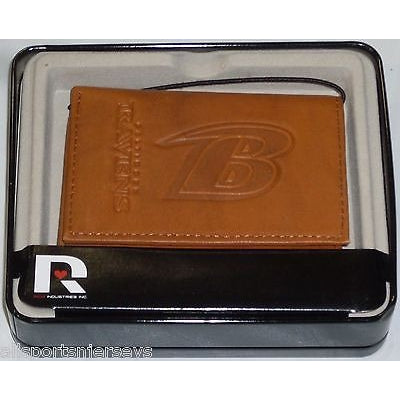 NFL Baltimore Ravens Embossed TriFold Leather Wallet With Gift Box