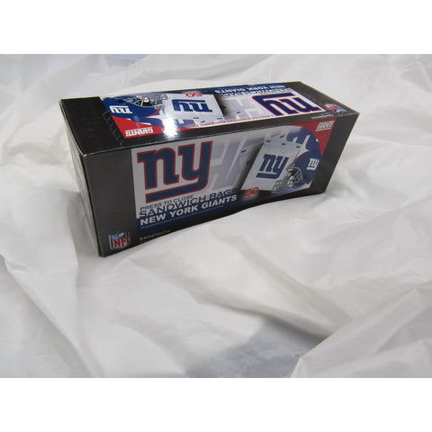 "NFL New York Giants 50 Pack Zipped Sandwich Bags 6 1/2"" By 5 7/8"""