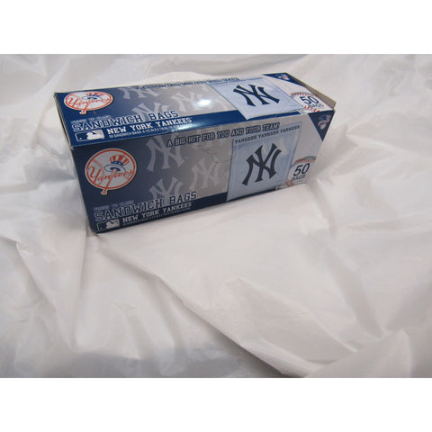"MLB New York Yankees 50 Pack Zipped Sandwich Bags 6 1/2"" By 5 7/8"""