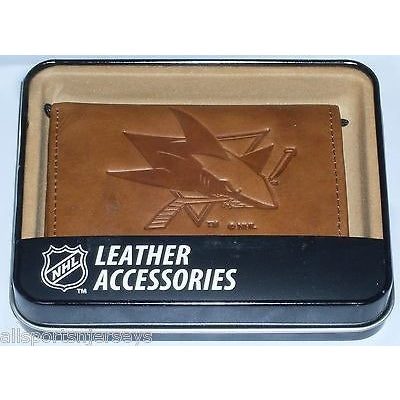 NHL San Jose Sharks Embossed TriFold Leather Wallet With Gift Box