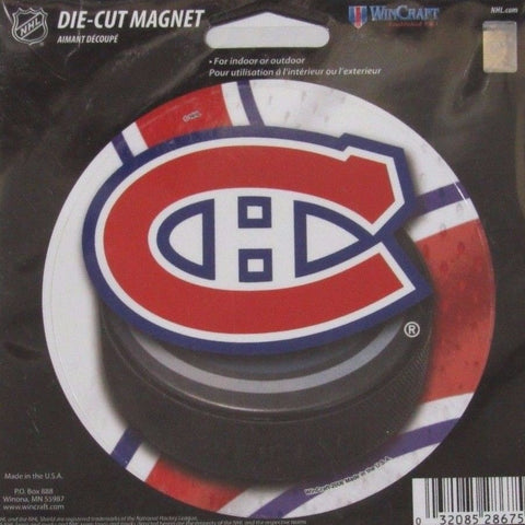 NHL Montreal Canadiens Round Puck Style 4 inch Auto Magnet by WinCraft