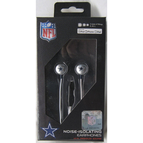 NFL iHip Team Logo Earphones with Microphone Dallas Cowboys