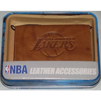 NBA Los Angeles Lakers Embossed TriFold Leather Wallet With Gift Box