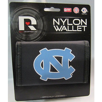 NCAA North Carolina Tar Heels Tri-fold Nylon Wallet Printed White Edge Logo