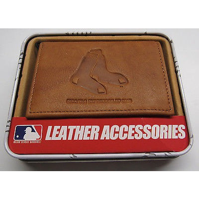 MLB Boston Red Sox Embossed TriFold Leather Wallet With Gift Box