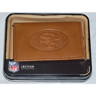 NFL San Francisco 49ers Embossed TriFold Leather Wallet With Gift Box