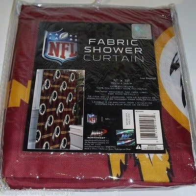 NIP NFL 72 X 72 INCH FABRIC SHOWER CURTAIN - WASHINGTON REDSKINS