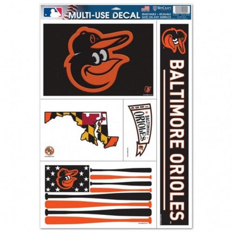 MLB Baltimore Orioles Ultra Decals Set of 5 By WINCRAFT w/Flag