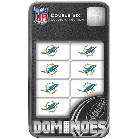 NFL Miami Dolphins White Dominoes Game by Masterpieces Puzzles Co