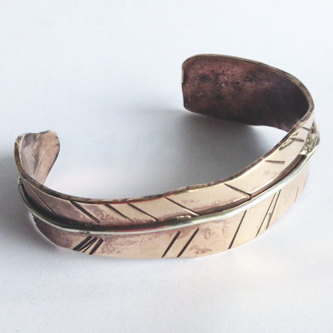 Bronze Feather Cuff with Sterling Silver