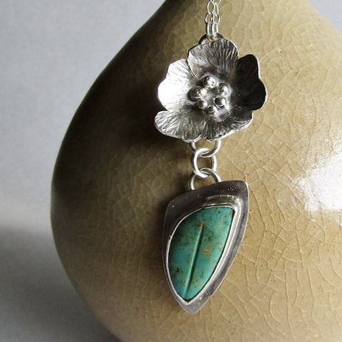 Silver Flower and Kingman Turquoise Leaf Necklace