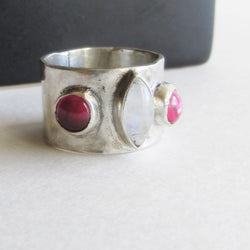 Moonstone and Lab Ruby Ring - Size 7