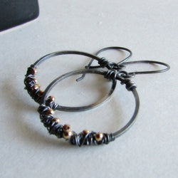 Mixed Metals Hoop Earrings - Sterling Silver and 14 Karat Gold