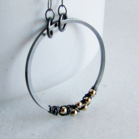 Mixed Metals Hoop Necklace - Sterling Silver and 14 Karat Gold