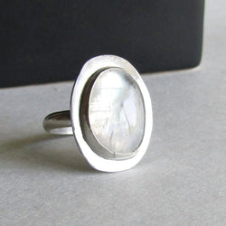 Oval Moonstone Ring - Size 8