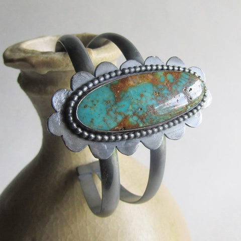 Kingman Turquoise Double Cuff with Scalloped Edge