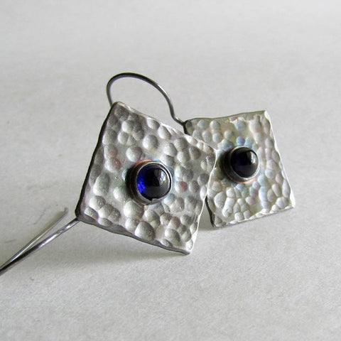 Lab Sapphire Hammered Silver Earrings