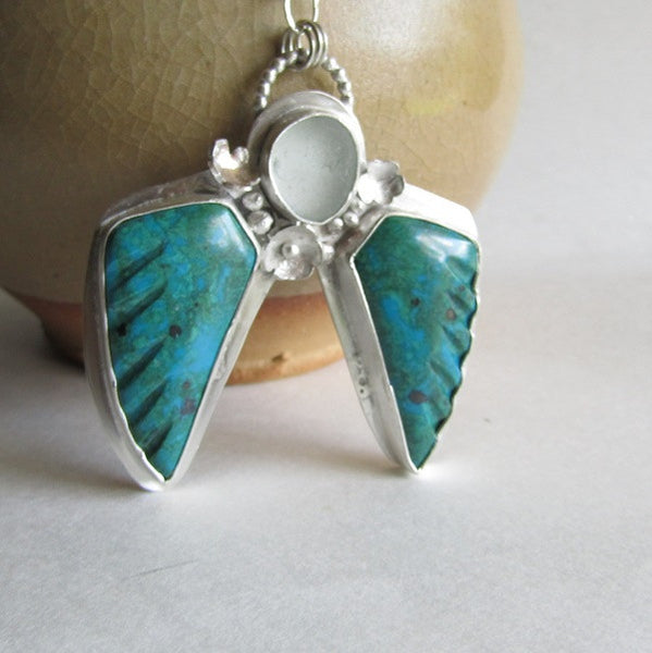 Angel Wings Necklace - Morenci Azurite and Clear Seaglass