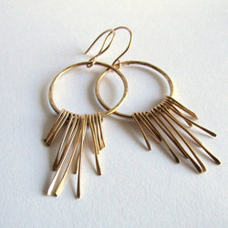 14 K Gold Boho Fringe Hoop Earrings