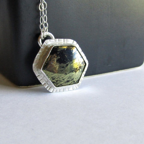 Hexagon Necklace - Pyrite in Chalcedony