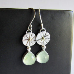 Prehnite Earrings with Gold Accent