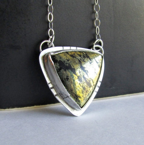 Triangle Pyrite Necklace - Pyrite in Chalcedony