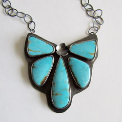 Turquoise Cluster Necklace - Butterfly