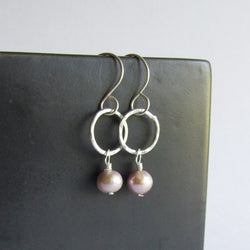 Hammered Silver Hoop Earrings with Pearl