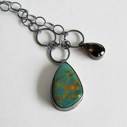 Chinese Turquoise and Smoky Quartz Necklace
