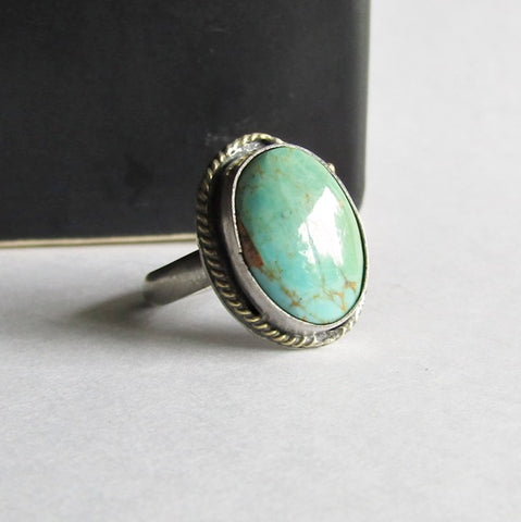 Kingman Turquoise Ring with 18K Gold Accent - Size 5 Ring