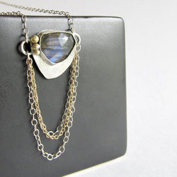 Blue Labradorite Necklace with 18K Gold