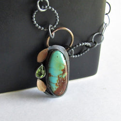 Kingman Turquoise Necklace with Peridot - Mixed Metals
