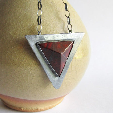 Red Jasper Triangle Necklace