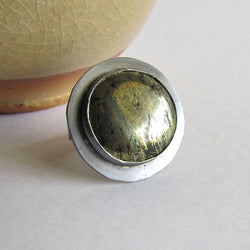 Big Round Pyrite Statement Ring - Size 10